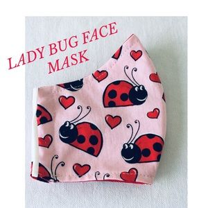 FACE MASK RED LADY BUGS PINK BACKGROUND FABRIC KID